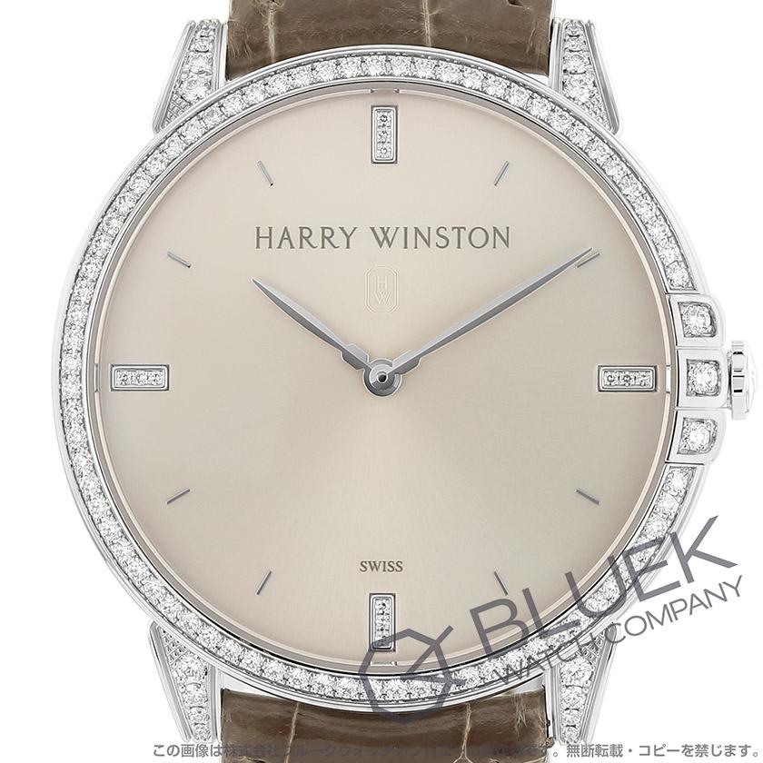 ハリーウィンストン ミッドナイト ダイヤ WG金無垢 クロコレザー レディース MIDQHM39WW002
